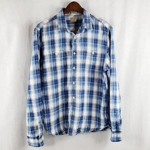 Lucky Brand Linen California fit plaid shirt Large